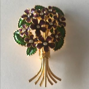 Joan Rivers crystal enamel flower brooch NOS 25th